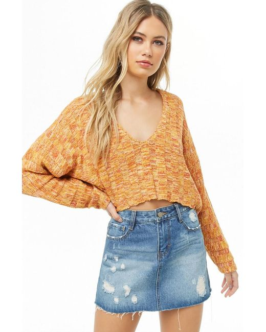 Forever 21 - Orange Cropped Ribbed Sweater - Lyst