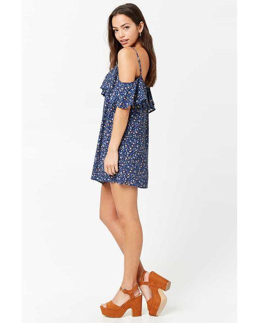 ab41828e9d8a ... Forever 21 - Blue Flounce Floral Open-shoulder Dress - Lyst