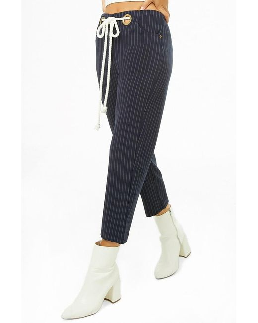 Forever 21 Blue Pinstriped Ankle Pants , Navy