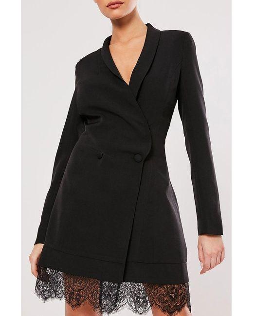 Missguided - Black Lace-hem Blazer Dress At - Lyst