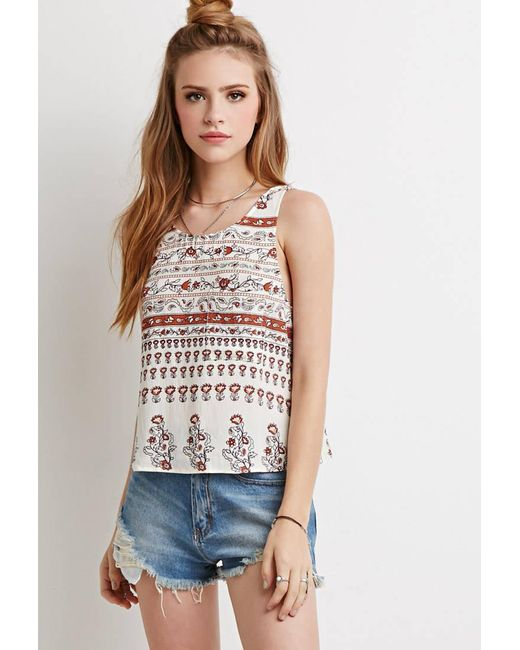 Forever 21   Brown Abstract Floral Ladder-back Tank You've Been Added To The Waitlist   Lyst