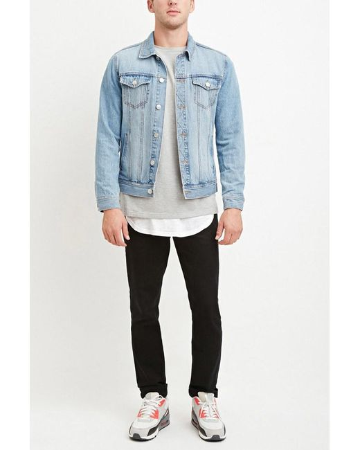Forever 21 - Black Cuffed Slim Fit Jeans for Men - Lyst