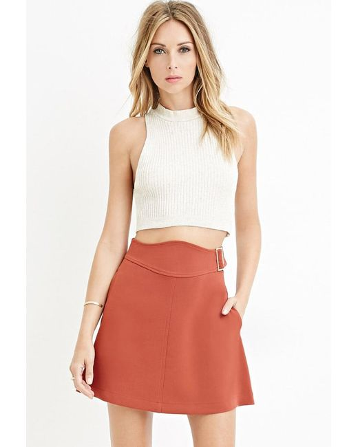 Forever 21 | Brown Contemporary Buckled A-line Skirt | Lyst