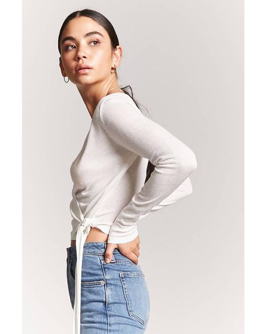 Lyst Forever 21 Mock Wrap Knit Top In White