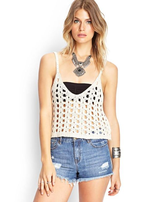 Forever 21 | Natural Open-knit Crop Top | Lyst