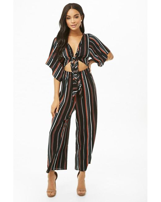 Forever 21 - Black Striped Tie-front Cutout Jumpsuit - Lyst