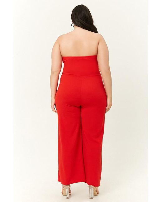 6715639f6e0 ... Lyst Forever 21 - Red Women s Plus Size Tube Jumpsuit ...