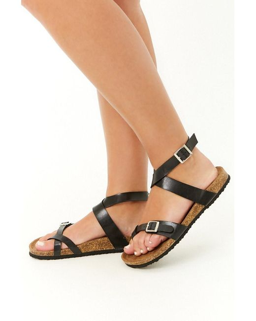 42fdf5b00fd90 Forever 21 - Black Strappy Faux Leather Sandals - Lyst ...