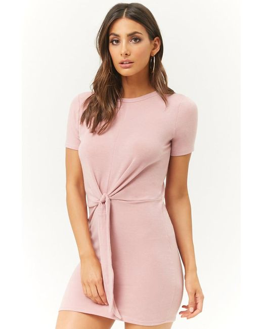 ce696b7aebf Forever 21 - Purple French Terry Tie-front Mini Dress - Lyst ...