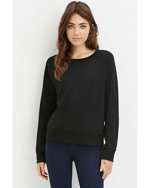 Forever 21 | Black French Terry Pullover | Lyst