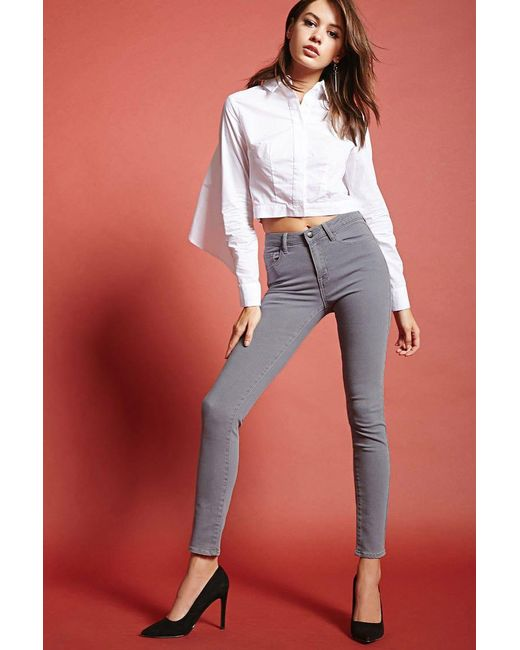 Forever 21 - Gray Mid-rise Skinny Jeans - Lyst