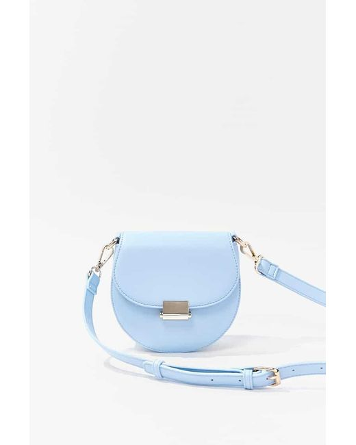 Forever 21 Blue Round Faux Leather Crossbody Bag