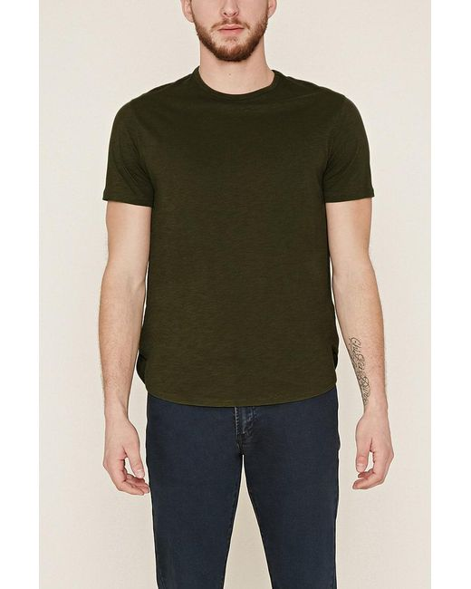 Forever 21 - Green Slub Knit Tee for Men - Lyst