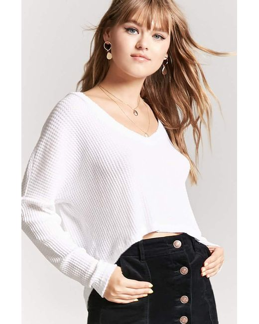 Forever 21 High Low Waffle Knit Top In White Lyst
