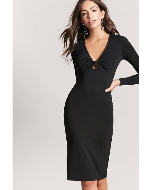 Forever 21 | Black Twist-front Bodycon Dress | Lyst