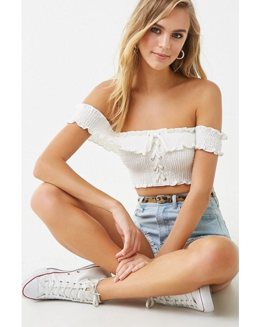 28762acf16a32e Forever 21 - White Off-the-shoulder Lace-up Crop Top - Lyst ...