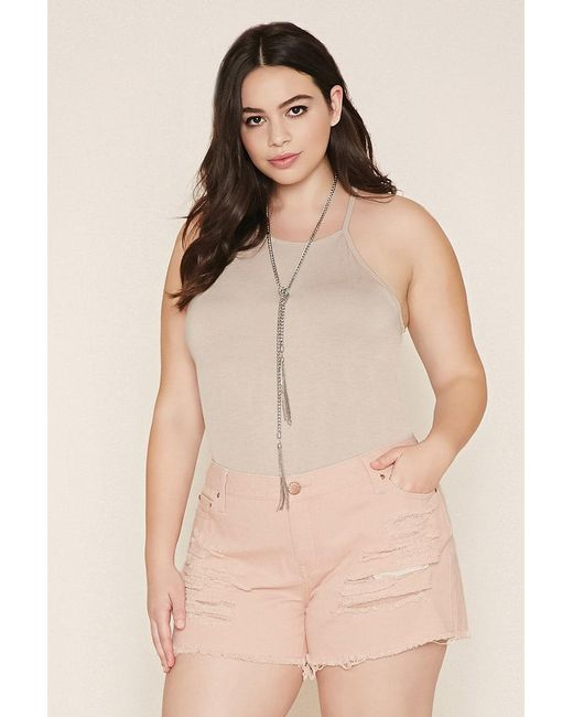 Forever 21 | Blue Plus Size Distressed Cutoffs | Lyst