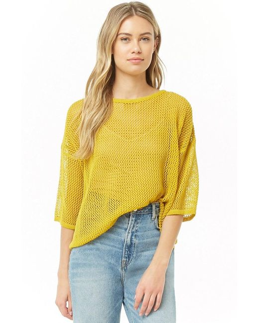 Forever 21 - Yellow Open-knit Dolman Sweater , Citron - Lyst