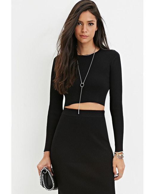 Forever 21 | Black Ribbed Knit Crop Top | Lyst