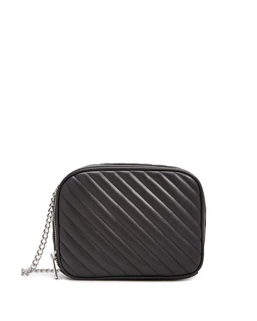 Forever 21 Black Faux Leather Quilted Crossbody Bag