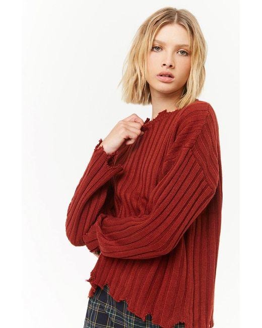 Forever 21 - Red Ribbed Sharkbite-trim Sweater - Lyst