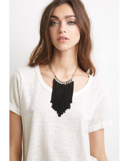 Forever 21 | Black Tassel Fringe Necklace | Lyst