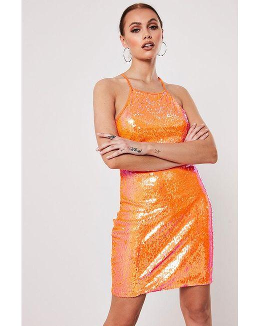 Missguided - Sequin Mini Dress At , Orange - Lyst