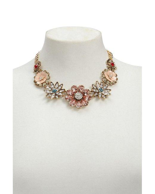 Forever 21 - Metallic Rhinestone Floral Statement Necklace - Lyst