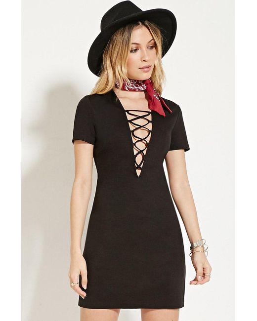 Forever 21 | Black Crisscross-neck Mini Dress | Lyst