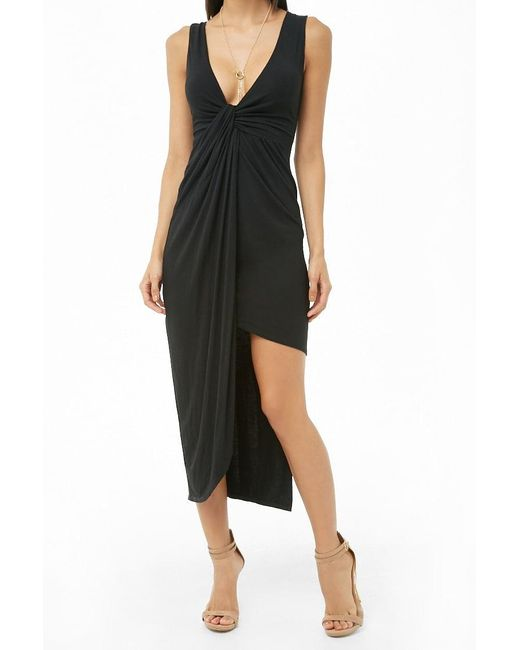 Forever 21 Black Women's Asymmetrical Midi Dress
