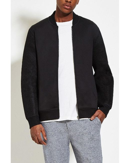 Forever 21 | Black Mesh-sleeve Bomber Jacket for Men | Lyst