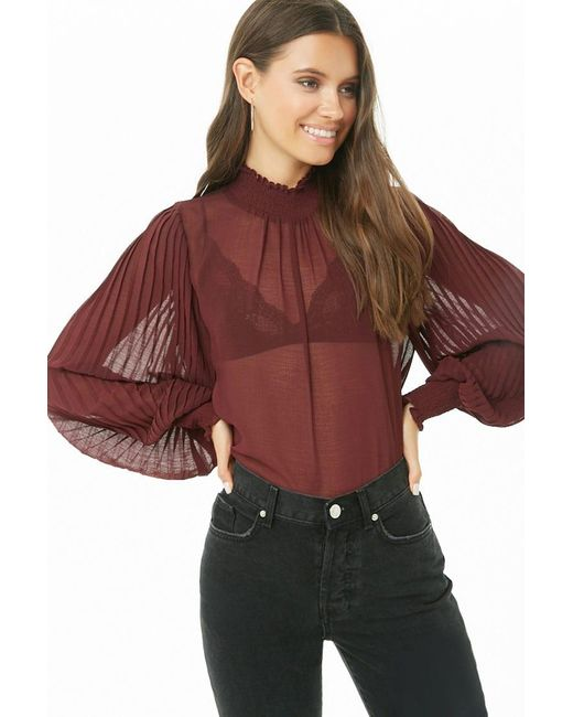 Forever 21 Multicolor Sheer Pleated Top , Burgundy
