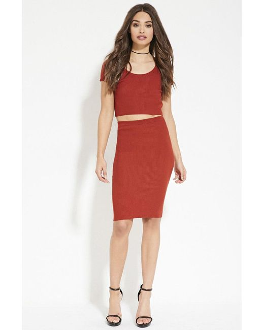 Forever 21 - Brown Ribbed Knit Bodycon Skirt - Lyst