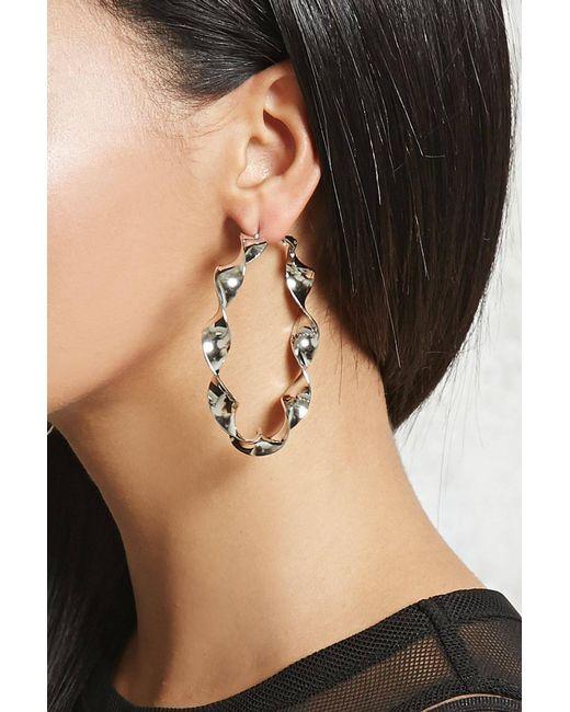 Forever 21 | Metallic Twisted Hoop Earrings | Lyst