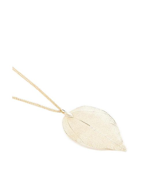 Forever 21 - Metallic Delicate Leaf Pendant Necklace - Lyst