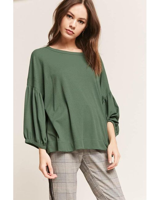 Lyst Forever 21 Balloon Sleeve Knit Top In Green