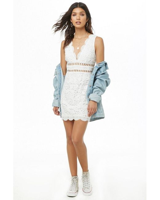 322f82adfb0 Forever 21 - White Crochet Lace Bodycon Dress - Lyst ...