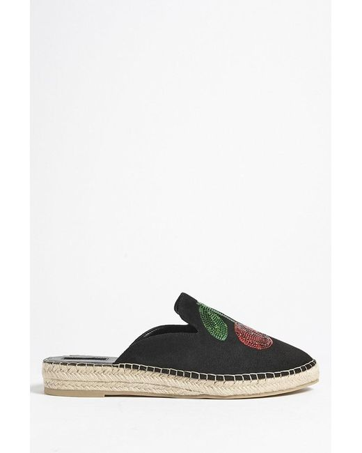 Forever 21 - Black Cherry Faux Suede Espadrille Mules - Lyst