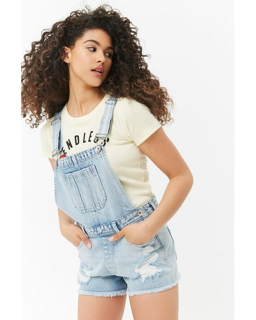 bcce35c9a8 Forever 21 Women's Frayed Denim Dungarees in Blue - Lyst