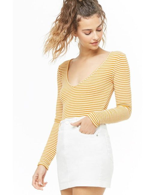 Forever 21 Multicolor Ribbed Striped V-neck Top , Gold/cream