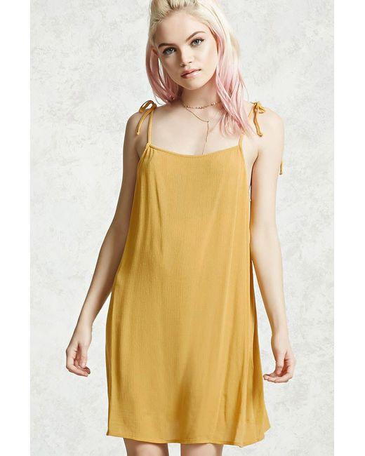 Forever 21 | Yellow Gauze Tie-strap Mini Dress | Lyst