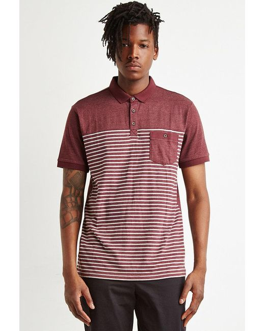 Forever 21 | Red Striped Colorblock Polo for Men | Lyst