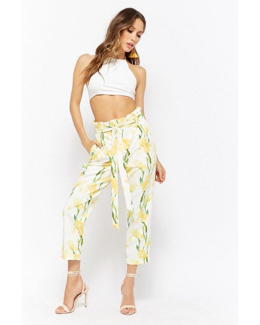 Forever 21 - Yellow Floral Belted Ankle Pants - Lyst