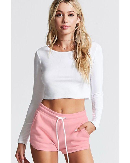 Forever 21   Pink Fleece Knit Pj Shorts   Lyst