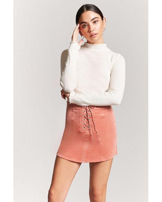 dbc9d3dafd Forever 21 - Purple Women s Corduroy Lace-up Mini Skirt - Lyst ...
