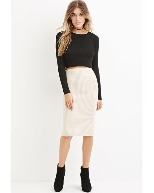 Forever 21 | Natural Ribbed Knit Bodycon Skirt | Lyst