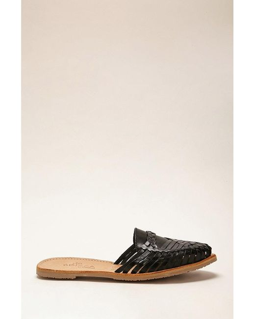 Forever 21 - Black Sbicca Leather Huarache Mules - Lyst