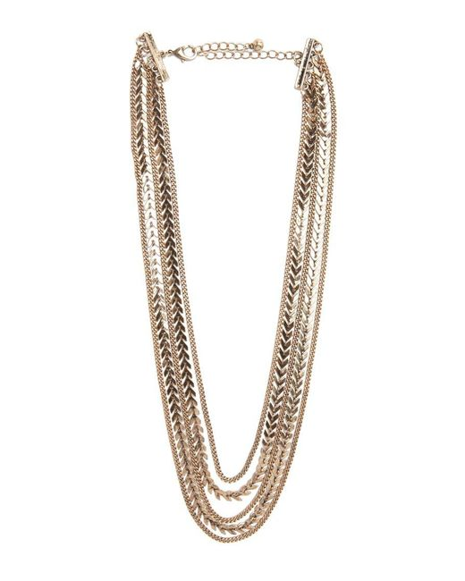 Forever 21   Metallic Chevron Charm Layered Necklace   Lyst