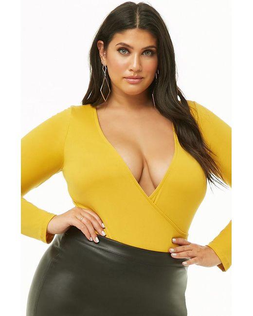 02cbd096512 Forever 21 Women s Plus Size Surplice Long-sleeve Bodysuit in Yellow ...