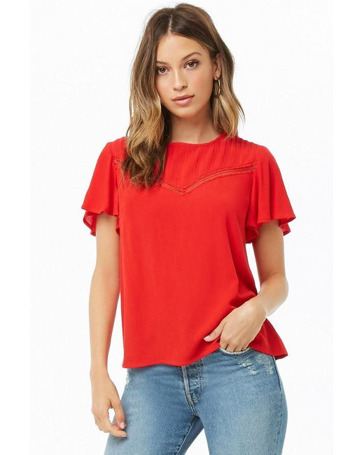 Forever 21 - Red Lace-trim Top - Lyst